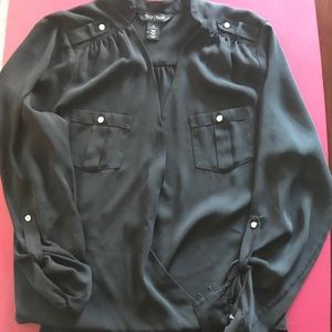 Black high-low shirt with silver accents